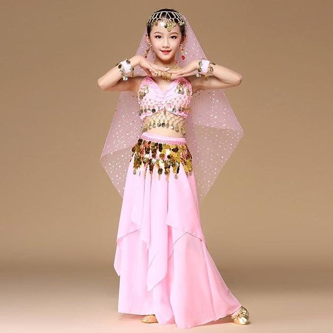 306e423bb178c Danse Orientale Enfant Fille Tenue Costume Danse Orientale Danse du Ventre  Vetement Ensemble crop top et pants (XS- tour de poitrine 82cm)  Amazon.fr   Jeux ...