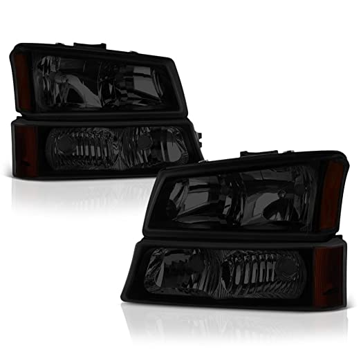 VIPMotoZ 2003-2006 Chevrolet Silverado 1500 2500 3500 Headlights - Matte Black Housing, Smoke Lens, Driver and Passenger Side