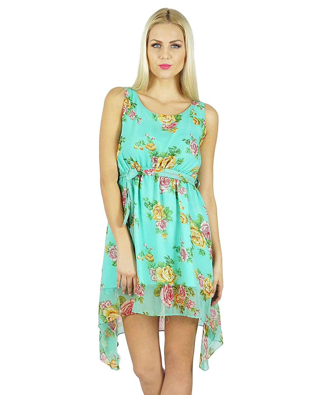 Bimba Women Asymmetrial Short Mini Dress Summer Clothing Floral Beach Wear