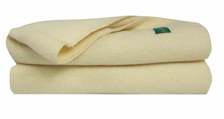 Ourson Decke Traditionell Bio – 100 % reine Schurwolle, Bär, Ecru A1, 180 x 220