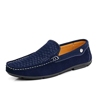 Men's Loafers Flat Casual Office Work School Cow Suede Slip On Blue QIANLING COLLECTION US8.5