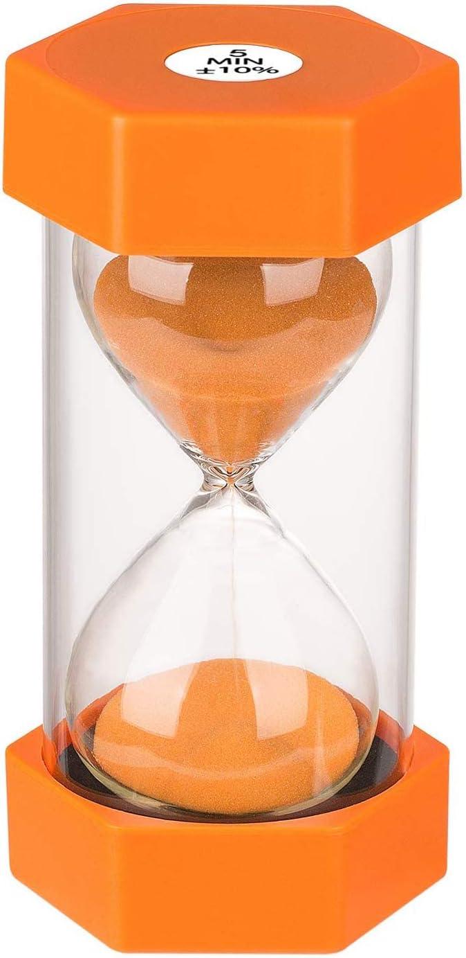 Temporizador de arena (1/3/5/10/30 minutos), protección dual para niños, asistente de gestión del tiempo, regalo creativo, sala de estar y oficina decoración (naranja durante 5 minutos)