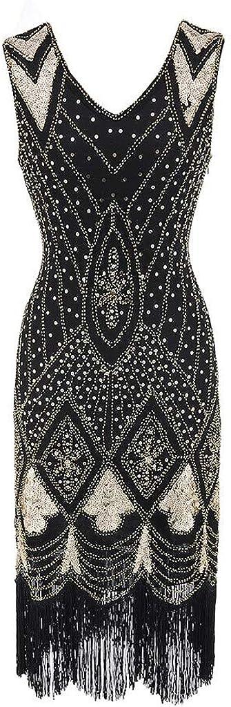MIRRAY Damen Retro 1920s Kleid 20er Jahre Stil Flapper Kleider Gatsby Motto Party Kostüm mit Fransen V Ausschnitt
