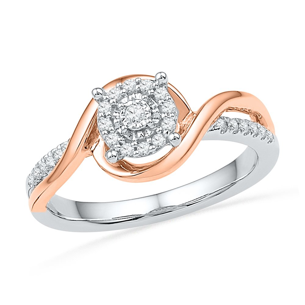 Sterling Silver With 10KT Pink Gold Round Diamond Promise Ring (1/6 cttw) by D-GOLD
