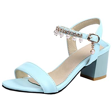 Artfaerie Damen Open Toe Slingback Sandalen mit Perlen und Schnalle Blockabsatz Riemchen Pumps Bequem Schuhe