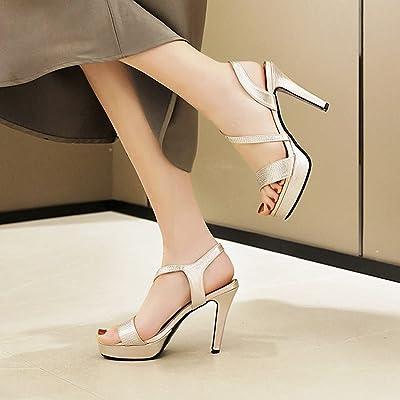 Womens Strappy Platform Wedges Rhinestone High heel Sandals Sparkly Party size