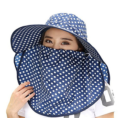 [Ezyoutdoor Women Wave Dot Large Brimmed Anti-UV Sun Hat With Removable Sun Shield And Neck Face Mask Protection With Folding Brim Outdoor Hat for Fishing Hunting Camping Swimming Hiking] (Pork Pie Hat For Sale)