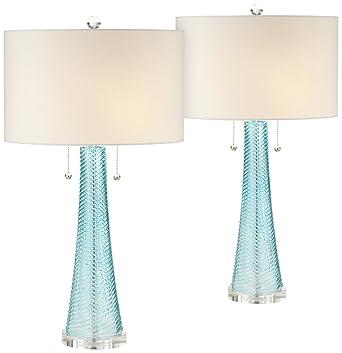 Possini Euro Design Miriam Blue Glass Table Lamp Set Of 2 Amazoncom