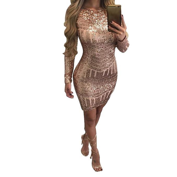 Vestidos Mujer, Lunule Moda Sexy Vestido de Mujer de Manga Larga Vestido Lentejuelas Vestido Fiesta Mujer Vestidos Cortos: Amazon.es: Ropa y accesorios