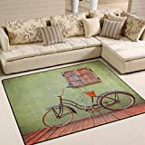 ALAZA Retro Summer Bike on Deck Area Rug Rugs for Living Room Bedroom 5'3 x 4′ For Sale