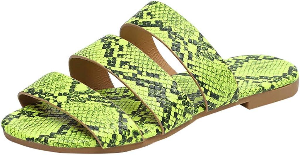 Sandals for Women Platform,2020 Crystal Snakeskin Bling Sandals Slip on Flip Flops Flat Beach Sandals Travel Shoes