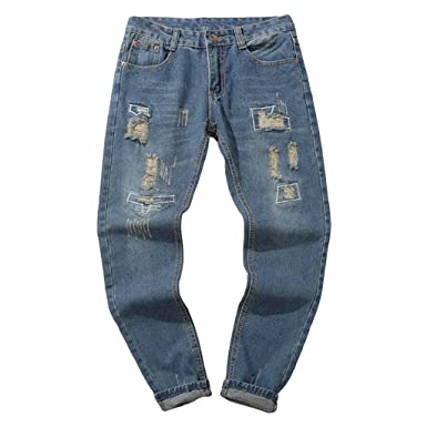 Luckycat Herren Hose Jeans Destroyed Löchern Jeanshosen Used Slim Fit  Skinny Stretch Freizeithose Denim 7d2aeef09a