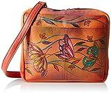 Anuschka Handpainted Leather Crossbody Travel Organzer, Angel Wings Tangerine