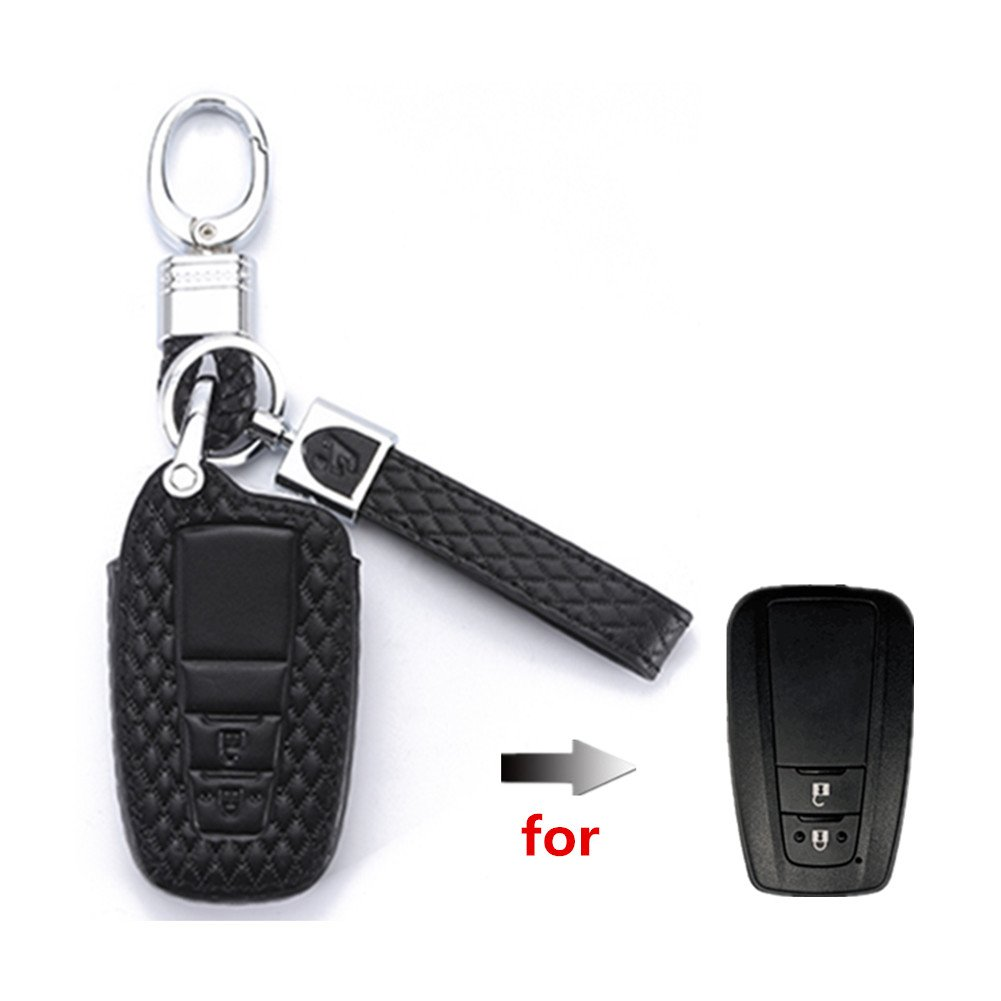 Happyit High Guality Leather Car KeyCover Cases Car keychain for Toyota Camry 2 Buttons Smart Key