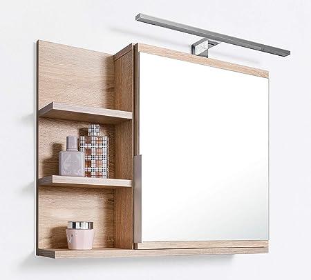 Miroir de Salle de Bain avec tablette et éclairage LED en chêne Sonoma