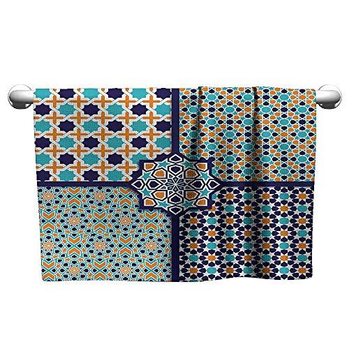 Bensonsve Gym Hand Towels Arabian,Different Asian Ornate Mosaic Patterns Historical Lines Heritage Culture,Blue Orange White,Towel Bath mats for Bathroom