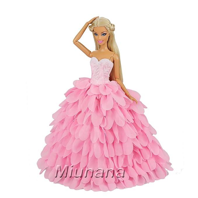 Amazon.es: Miunana 1 Vestido de Noche + 1 Sombrero con Rosado Ropa Vestir Fiesta Accesorios como Regalo para Muñeca Barbie Doll: Juguetes y juegos