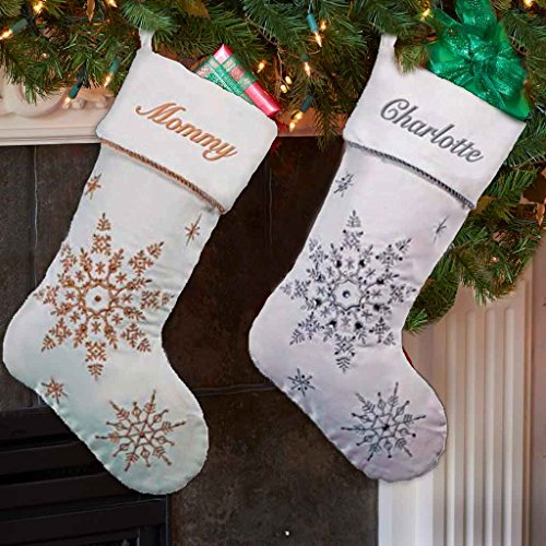 (DIBSIES Personalization Station Personalized Sparkling Snowflakes Christmas Stocking (Silver))