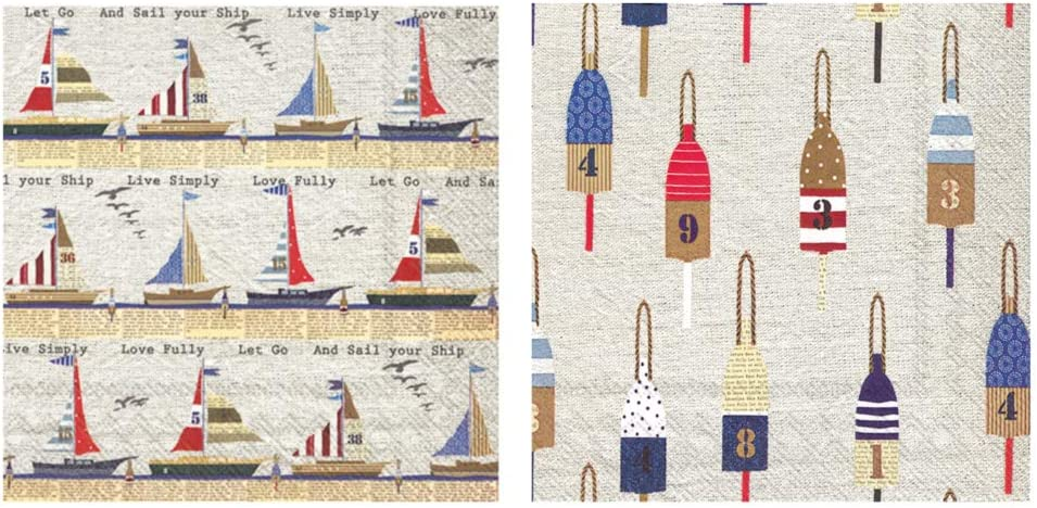 Nautical Theme Beverage Napkins: Bundle Includes 40 Cocktail Beverage Napkins in 2 Different Ahoy Nautical Designs