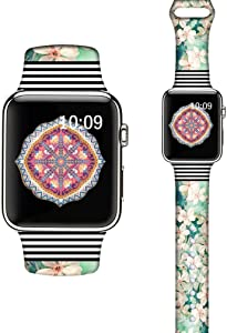 LAACO Silicone Sport Bands Compatible with Apple Watch 44mm for Women, Floral Sport Band, Cherry Blossoms Fadeless Pattern Printed Replacement Strap Bands Compatible with iWatch 42mm Series 5 4 3 2 1