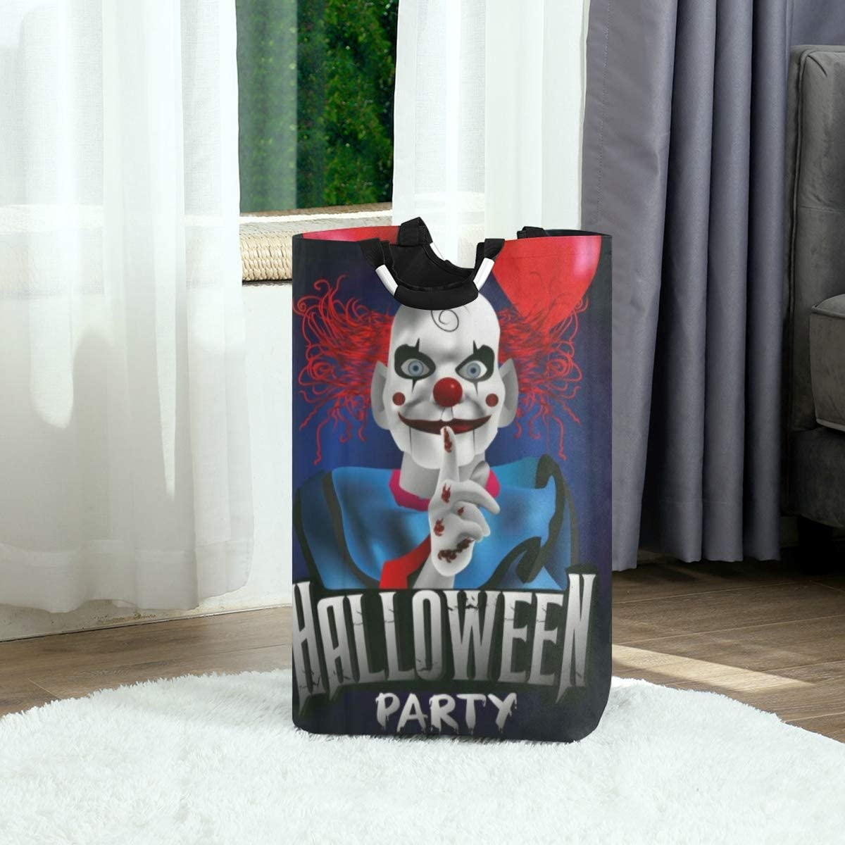 DAOPUDA Laundry Bag Scary Clown with Balloon Halloween Party Flyer Large Laundry Hamper Bags for Heavy-Duty Use with Strap,Standing Clothes Basket Collapsible for Dorm Travel Bathroom