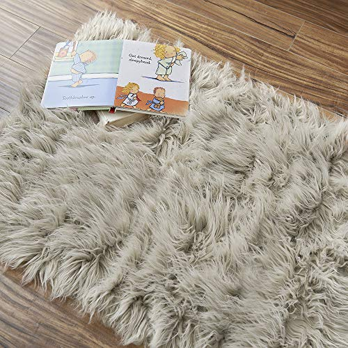OJIA Deluxe Soft Faux Sheepskin Shaggy Area Floor Rugs Children Play Carpet for Living & Bedroom Sofa (2 x 3ft, Light Coffee) - Living Shaggy Rug