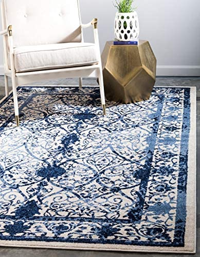 Unique Loom La Jolla Collection Tone-on-Tone Traditional Ivory Blue Area Rug 9 0 x 12 0