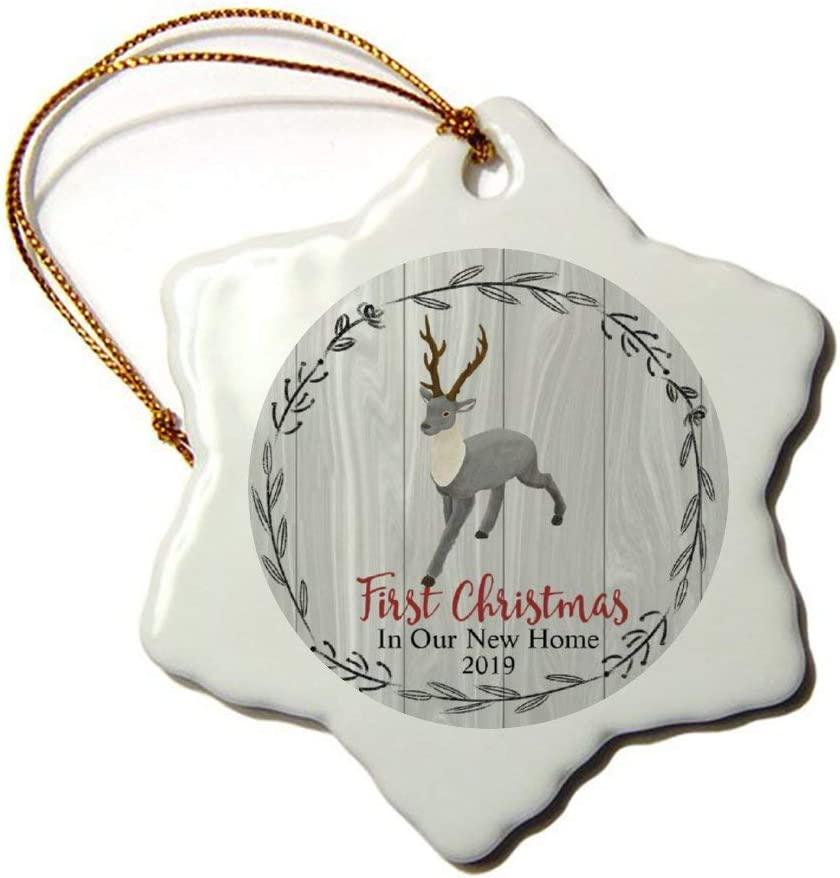 Mesllings A Walking Deer Wreath First Christmas in Our New Home 2019 Christmas Ornament 3
