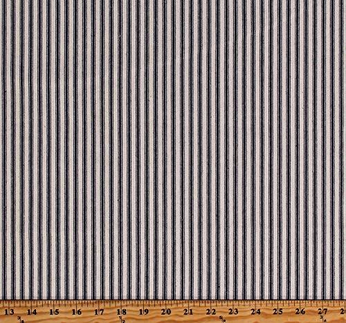 Premium Yarn-Dyed Woven Ticking Stripe Navy Blue Stripes on Cream 45