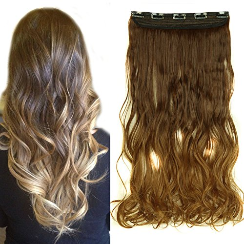 New Clip In Hair Extensions Ombre Dip Dye Color Synthetic