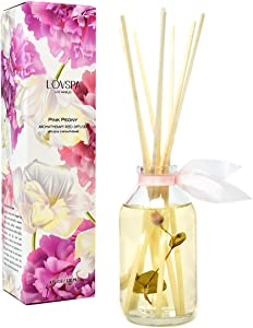 LOVSPA Pink Peony Reed Diffuser Scented Stick Gift Set with Essential Oils and Real Flower Petals in The Bottle, Made in The USA