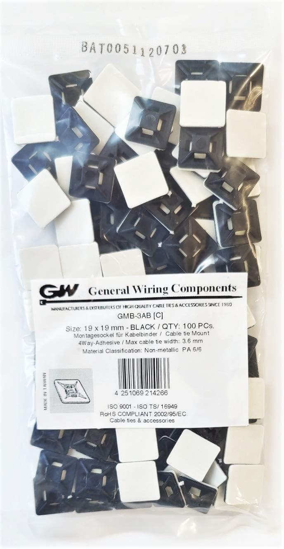 Gw Kabelbinder Technik Montagesockel Mit Klebefläche 19 X 19 Mm Schwarz 100 Stück Gmb 3abc Baumarkt
