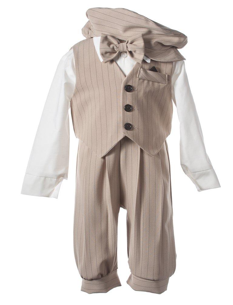 Tuxgear Boys Tan Pinstriped Knicker Set with Vest and Pageboy Hat, 6 Boys by Tuxgear