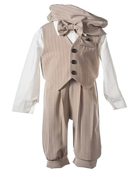 1930s Childrens Fashion: Girls, Boys, Toddler, Baby Costumes Boys Tan Pinstripe Knicker Set with Vest in Baby Toddler & Boys Sizes $34.95 AT vintagedancer.com