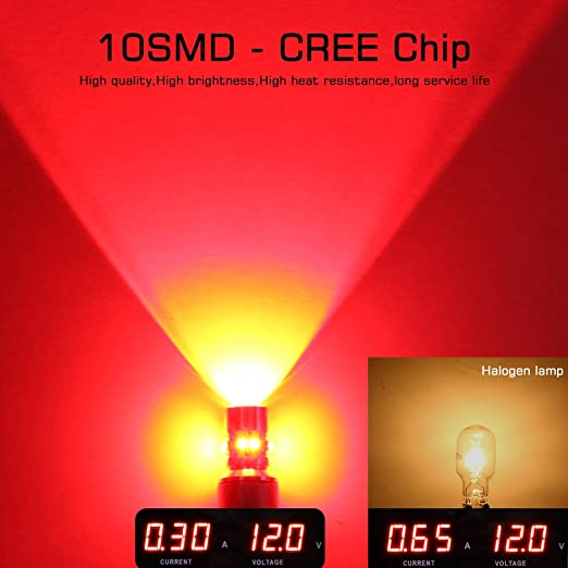 MAXGTRS 50W 921 912 Cree Chip LED Width Light Red W16W T15 LED Bulb with Condenser Lens for Turn Lights Signal Light 360-Degree Extremely Bright