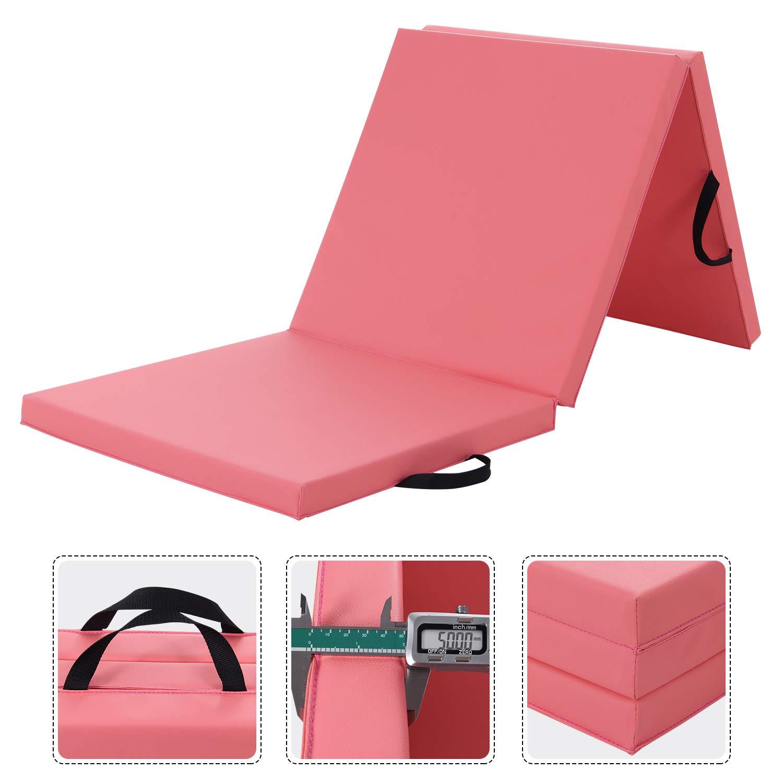 WolfWise 6'x2' Gymnastics Mat Thick Exercise Mats Tri-Fold Folding Tumbling Traning Fitness Panel, Pink