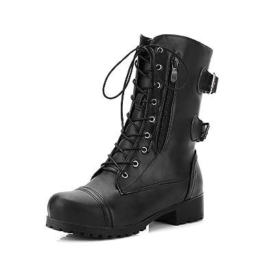 218d06f38b5 Amazon.com   SNIDEL Women's Mid Calf Martin Boots Lace up Flats ...