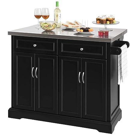 SoBuy Carrello Cucina Credenza Legno Piano Lavoro Cucina Piano in Acciaio è  allungabile FKW71-SCH