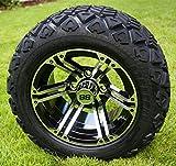 12'' TERMINATOR Machined/Black Golf Cart Wheels and 20x10-12 DOT All Terrain Golf Cart Tires - Set of 4 - NO LIFT REQUIRED (read description)