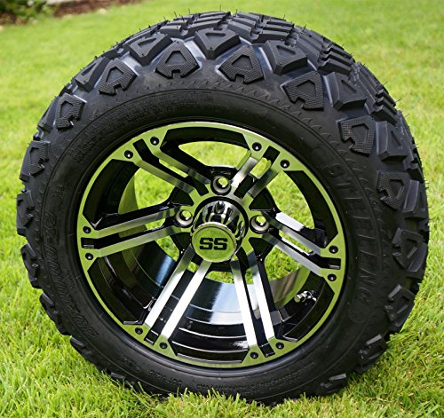 ned/Black Golf Cart Wheels and 20x10-12 DOT All Terrain Golf Cart Tires - Set of 4 - NO LIFT REQUIRED (read description) ()