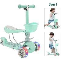 Scooter para niños, juguete de 3 ruedas con asiento desmontable desmontable, rueda de destello, coche infantil ajustable en altura, regalo de cumpleaños para bebés, niño, niña, 3-6 años de edad