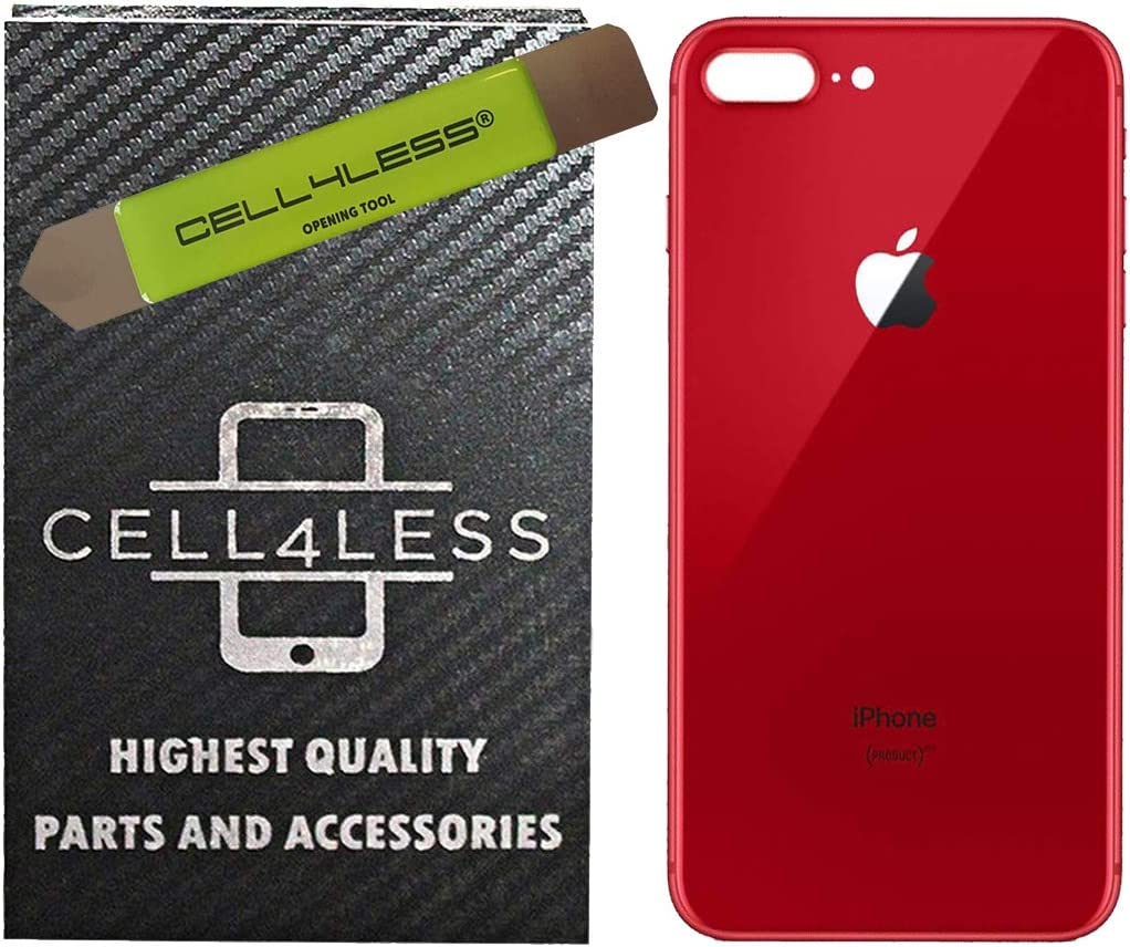 RED iPhone 8 Plus Back Glass Replacement Kit OEM Battery Door Replacement w//Adhesive /& Removal Tool Compatible w//Apple iPhone 8 Plus Only