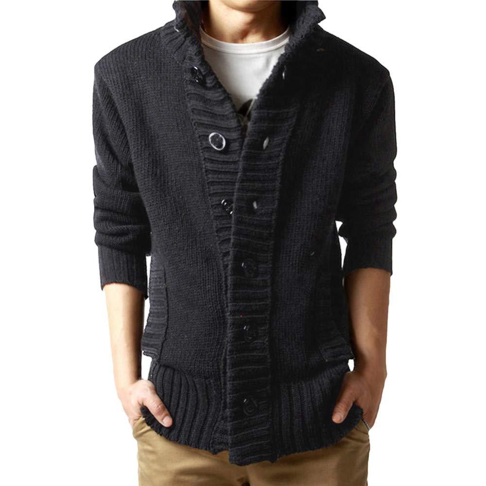UOFOCO Autumn Slim Jumper Knitwear Coat Mens Winter Sweater Button Pullover Outwear Blouse