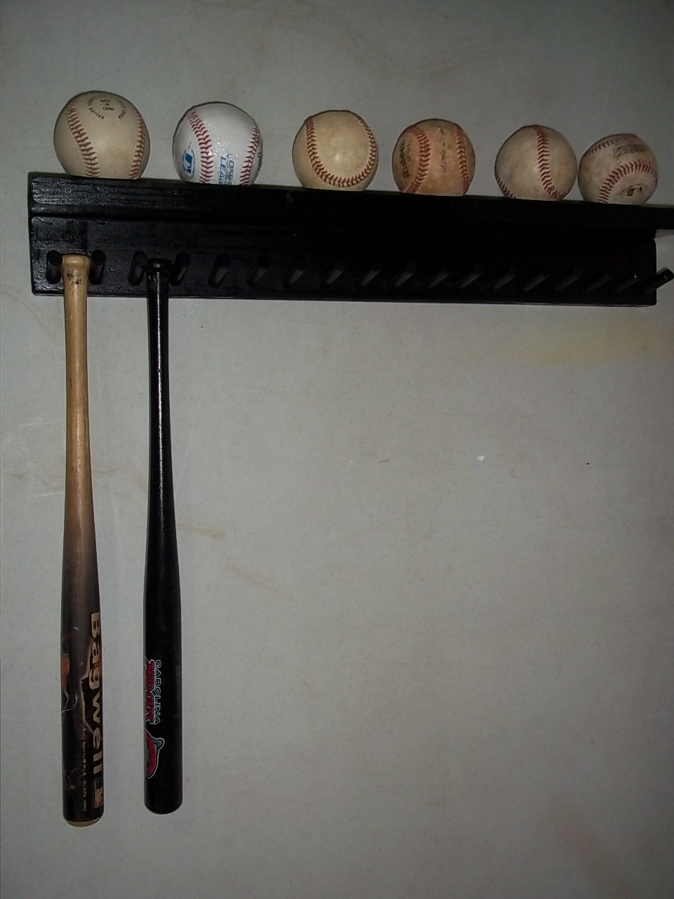 Solid Wood Baseball Mini Size Bat Rack up to 17 Bats 6 Balls Black Custom Deluxe M17B6 by Baseballrack