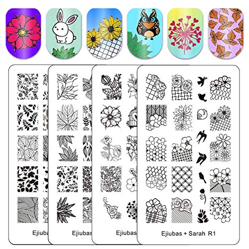 Ejiubas Double-sided Nail Stamping PlatesNature Park Nail Templates Stamp Image Plates for DIY Nail Art Design 2 Count4 Sides Sarah R1&R2