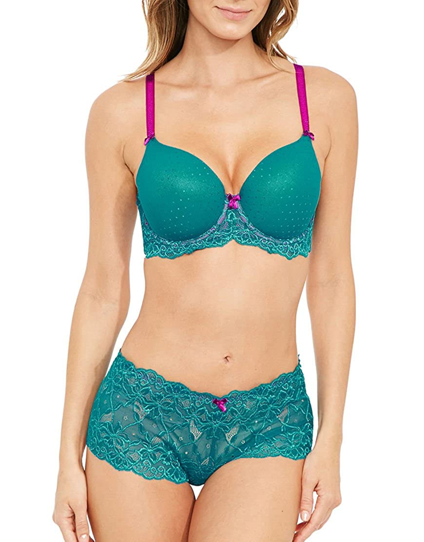 834755a7061f8 Figleaves Womens Talia T-Shirt Bra (B-GG) Size 30D in Green Lace Padded  Underwired  Amazon.co.uk  Clothing