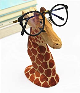 TANG SONG Creative Wood Hand Carved Eyeglass Holder Handmade Nose Giraffe Stand for Office Desk Home Decor Gifts