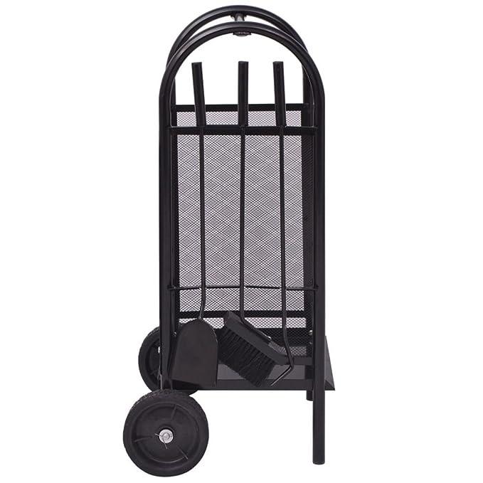 vidaXL Leñero de Hierro Peso Total: 7 kg Dimensiones 35x30x81 cm Color Negro: Amazon.es: Bricolaje y herramientas