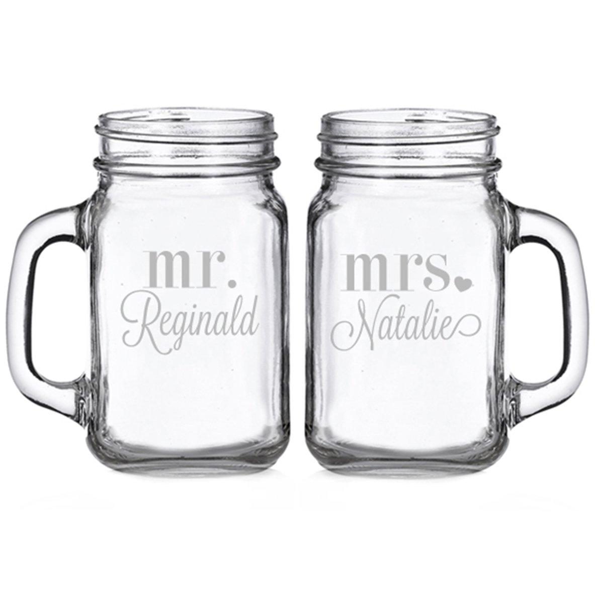 Mr. and Mrs. Heart Personalized Glass Mason Mugs (set of 2)