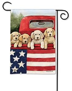 BreezeArt Studio M Patriotic Puppies Decorative Summer Dogs Garden Flag – Premium Quality, 12.5 x 18 Inches